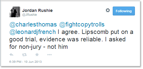 I agree. Lipscomb put on a good trial, evidence was reliable. I asked for non-jury - not him