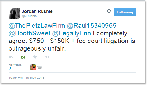 @ThePietzLawFirm @Raul15340965 @BoothSweet @LegallyErin I completely agree. $750 - $150K + fed court litigation is outrageously unfair.