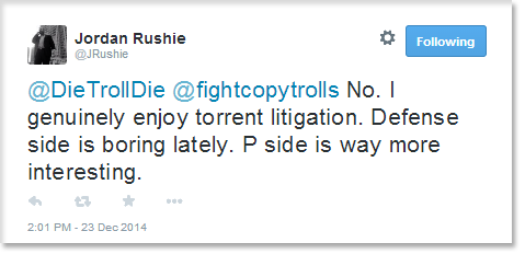 No. I genuinely enjoy torrent litigation. Defense side is boring lately. P side is way more interesting.
